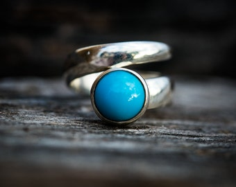 Turquoise Ring size 8 -9.5 Turquoise Ring size 8-9.5 Adjustable Size Ring - Turquoise Jewelry - Sterling Silver Turquoise Ring size 7-9 Ring