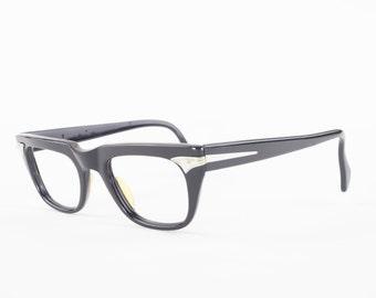 Vintage 60s Eyeglasses   1960s Black Horn Rimmed Glasses   Space Age NOS Eyeglass Frame   Deadstock Eyewear - Wormley