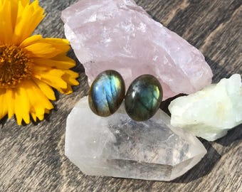 Polished labradorite stud earrings, Stud earrings, raw stone earrings, crystal earrings, natural labradorite, labradorite earrings