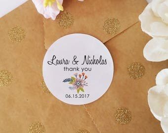Thank You Stickers, Wedding Favor Stickers, Custom Name Stickers, Adhesive Labels, Favor Bag Stickers, 45 Qty