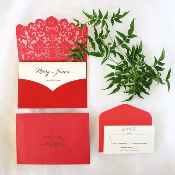 Red wedding invitations australia chinese by paperboundlove for Chinese wedding invitations etsy
