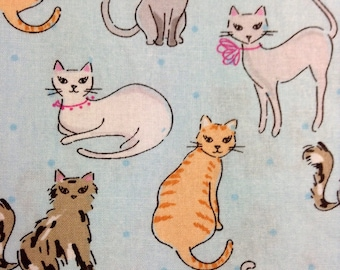 One Half Yard of Fabric Material - Cats On Light Blue
