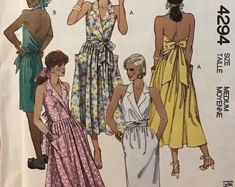 EASY MCCALL'S 4294 – Misses' Dress with Wrap Bodice Backless Halter Dress with Flared or Slim Skirt, Size Medium – Factory Folded and Uncut