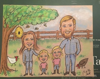 caricature custom color 4 people 14x18,drawing,funny picture,faces,couples portrait,humorous drawing,