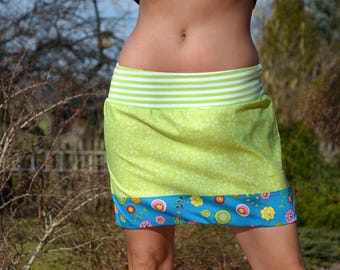mini skirt, green and blue with little flowers