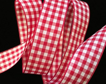 """350.2 Red & white check gingham ribbon trim 7/8"""" (22mm) - PRICED PER 5 YARDS"""