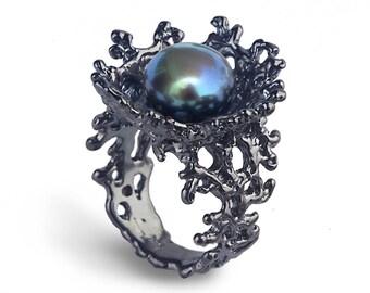 Black Friday SALE CORAL FLOWER Black Pearl Ring, Black Ring, Black Engagement Ring, Black Pearl Engagement Ring, Alternative Flower Ring
