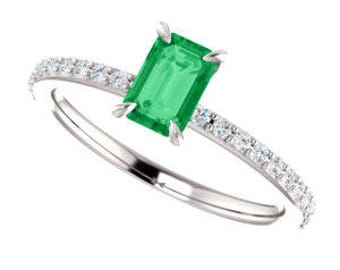 25% OFF Emerald Cut, Emerald Gemstone Ring with Diamonds in 14K Gold
