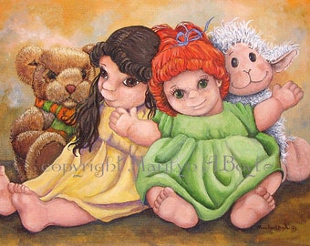 ORIGINAL ACRYLIC PAINTING; Girl's room, children's art, dolls and stuffed animals, warm vibrant colors, wall art, 12 x 16 inch canvas board