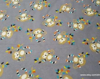 Flannel Fabric - Stripe Monkey - 1 yard - 100% Cotton Flannel