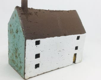 Ceramic House with Black Roof and Turquoise Gable