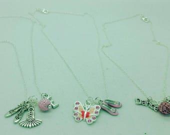 Ballerina necklace, recital gift, ballet necklace, girls dance necklace, girls ballerina necklace, girls charm necklace, pink dance necklace