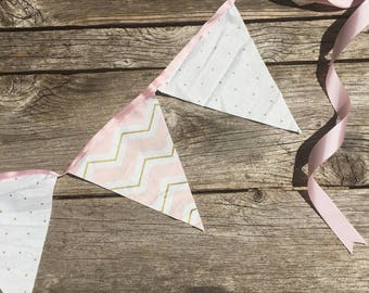Pink and Gold Classic Bunting Fabric Banner