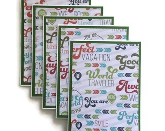 Travel Stationary Set With Envelopes - Travel Note Cards - Travel Blank Cards - Handmade - Homemade - Vacation Stationary - Vacation Cards