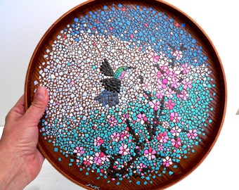 Blue butterfly cherry blossom mosaic plate egg shell mosaic for Egg tray wall hanging