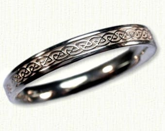 Celtic 'S' Loop Knot Wedding Band - 4mm -Sterling Silver, 14kt White or Yellow Gold - Narrow