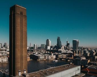 LONDON MOODS 18x12 inch print - views of Tate Modern, City of London, Skyscrapers