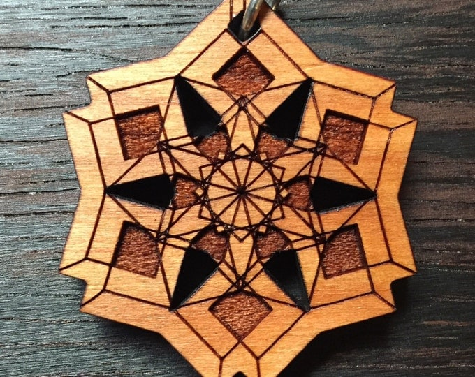 Echelon Cherry Wood Laser Engraved Pendant