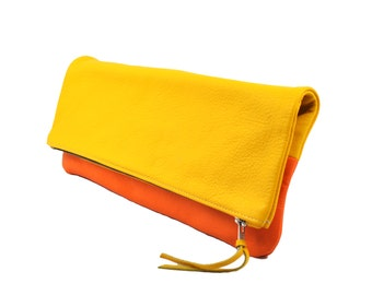 Leather Foldover Clutch/Pouch/Cosmetics Bag in Yellow & Orange; Genuine Full Grain Leather; Unlined; Color Block Clutch