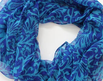 Blue infinity scarf - light weight chiffon scarves - fun spring scarves - birthday gift for her
