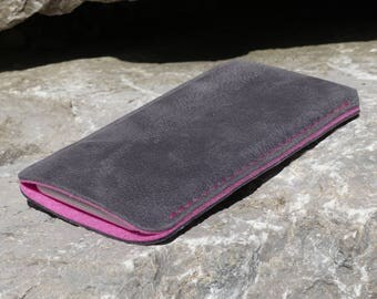 SILVER SlimLine iPhone 7 Case, iPhone 7 Plus Case, pure wool felt, slim leather case, vegetable tanned leather