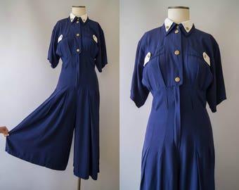 vintage 1980s jumpsuit / 80s navy palazzo pant jumpsuit / small