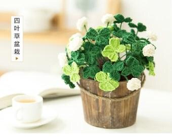 crochet flower pot crochet plant valentine's flower unique gift for her