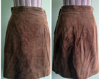 Whiskey Brown Suede Skirt, High Waisted Leather Skirt, Side Slit A Line Bohemian Skirt, Hippie Clothing, Boho Chic Festival Skirt, Size M