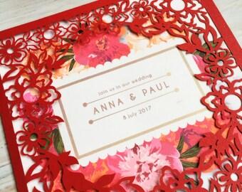 Floral Laser Cut Wedding Invitation Enclosure, Wedding invitation, Rustic Wedding Invitation, Bridal Shower Invitation, Lasercut Invitations