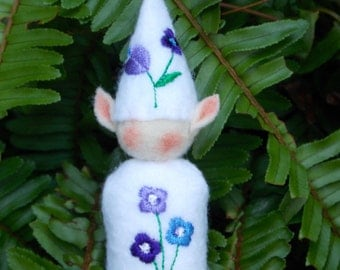 Elf Ornament ~ Decoration ~ Christmas ~ Holiday Stuffed White Felt with Purple and Lavender Flowers