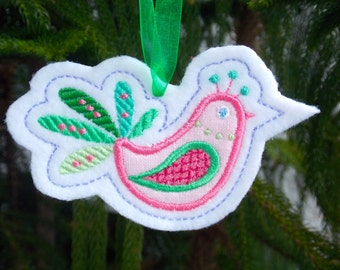 Christmas ~ Holiday ~Gift ~ Wreath ~ Easter Ornament Machine Embroidered Appliqued Bird on Felt in Pink and Greens Machine Embroidered