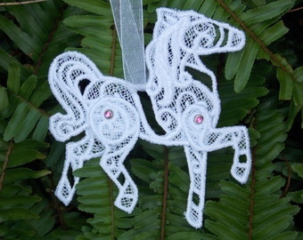 Amazing Horse Ornament ~ Christmas ~ Easter ~ Holiday ~ Decoration Machine Embroidered in White