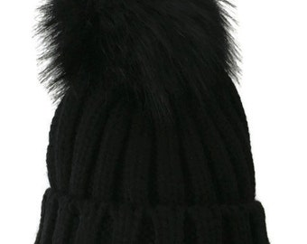 Black Chunky Knit Bobble Hat , Faux Fur Pom Pom Hat