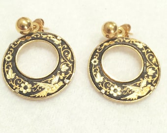 "Vintage Gold Tone 1"" Black & Gold Dove And  Floral Earrings Pierced"