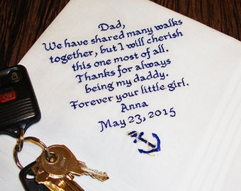 Embroidered Father of the Bride Handkerchief - FREE Gift Box - Cherished Walk - Custom Embroidered Men's Hankerchief - Men's Hankie - Hanky