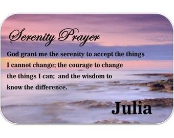 Personalised Wallet Insert Card. Inspirational Prayer Mini Gift - Serenity Prayer