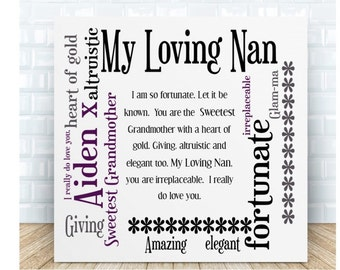 Personalised Grandmother Word Art Ceramic Plaque
