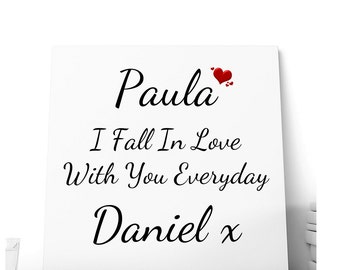 Fall in Love Every Day Message Ceramic Plaque.  Personalised