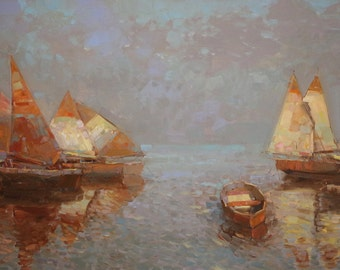 Sail Boats, Original oil painting, Seascape, Handmade art, large size painting, one of a kind