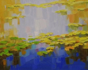 Waterlilies Original oil Painting on Canvas Handmade painting 24 x 48 in One of a kind Large Size