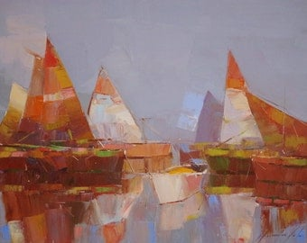 Sail Boats, oil painting, Handmade art, Impressionism, painting by palette knife, One of a kind