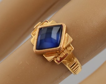 Vintage Estate 18k Yellow Gold Sapphire Ring Size 5