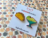 Taco Tuesday, taco and margarita, button earrings, stud earrings,  shrink plastic earrings, unique earrings, mix & match, wearable art