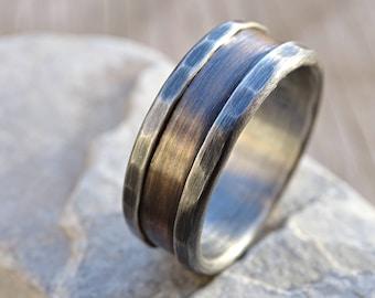bronze ring silver, bronze wedding band, mens wedding band, rustic silver ring bronze rustic wedding ring, engagement ring, anniversary gift