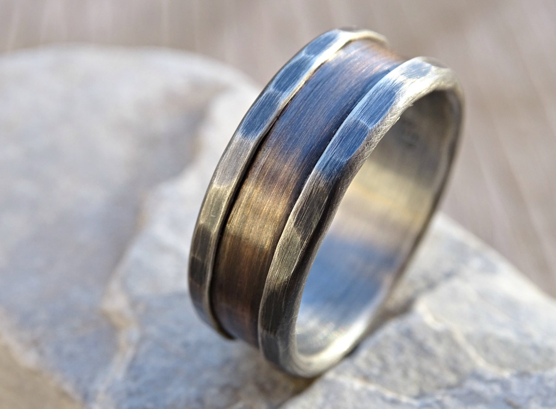 bronze ring silver bronze wedding band mens wedding by