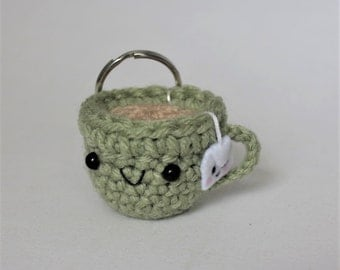 Tea Cup Amigurumi Keychain