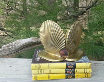 Brass Clam Shell Bookends Mid Century Home Decor