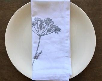 White Cotton Dinner Napkins, Set of 4, White Cloth Napkins, Block Print Fabric, Printed Napkins, Nature Print, Napkin Set, Table Linens