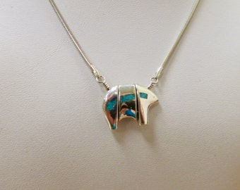 Native American Indian Sterling Silver and Turquoise Inlaid Bear Necklace Item W # 428