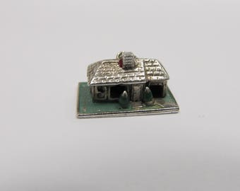 Vintage Sterling Silver Enameled House Charm W #183